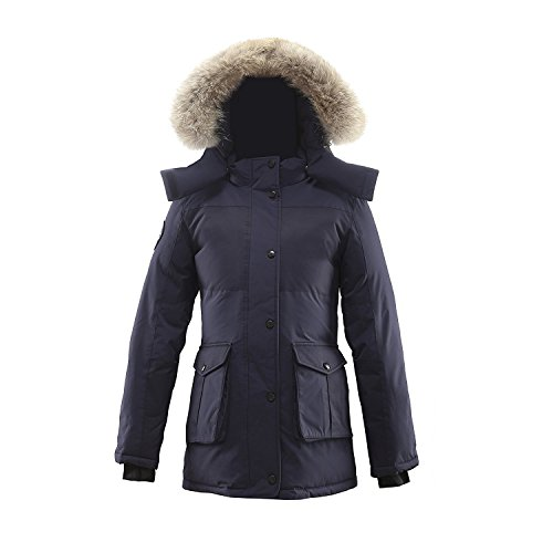 Triple F.A.T. Goose Madigan Womens Hooded Arctic Parka with Real Coyote Fur (X-Large, Navy) by Triple F.A.T. Goose