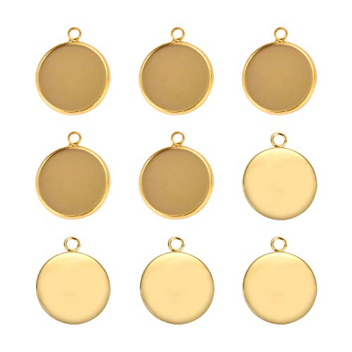 Lanbeide Stainless Steel Pendant Trays Cabochon Settings Bezel Pendant Blanks for DIY Crafting Photo Jewelry Making 16x16mm Gold