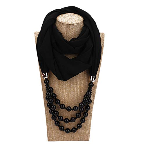 YoungG-3D New Pendant Scarf Necklace Pearls Necklaces For Women Chiffon Scarves Pendant Jewelry Wrap Foulard 8 One Size