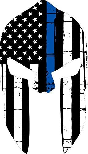 Thin Blue Line PUNISHER with Custom Text and Arch Tattered Flag Police Decal