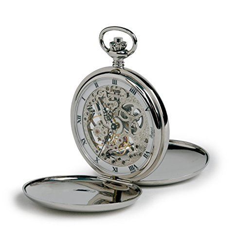 Rapport of London Chrome Hunting Case Pocket Watch with Skeletonized Movement by Rapport London