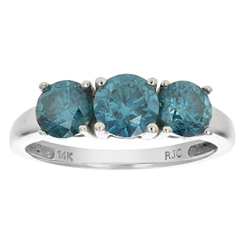 2 CT 3 Stone Blue Diamond Ring 14K White Gold In Size 7 (Available In Sizes 5 – 10)