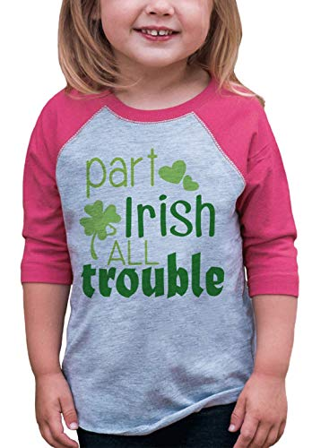 7 ate 9 Apparel Girls' St. Patrick's Day Vintage Baseball Tee 2T Pink and Grey -