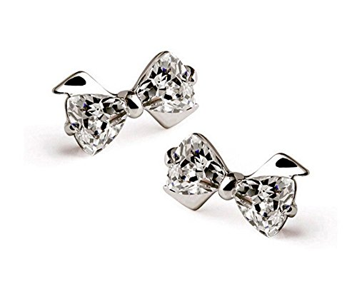 Bow Stud Earrings - Qtalkie 1 Pair 925 Silver Plated Cute Bow Twinkingling Earrings Ear Stud Earrings