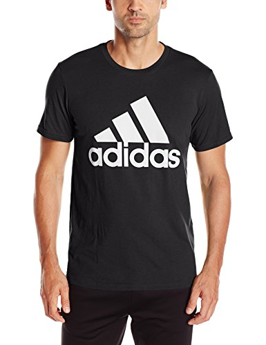 adidas Mens Badge of Sport Graphic Tee, Black/White, Small