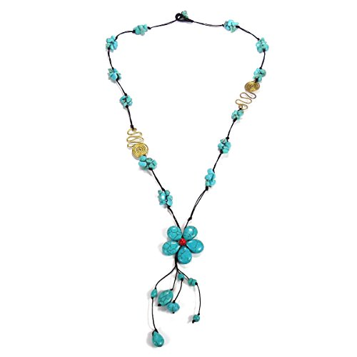 AeraVida Long Drop Simulated Turquoise Flower-Brass Deco Cotton Wax Rope Necklace