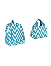 Ever Moda Chevron School Camp Work Backpack Lunch Box Bag Set Blue