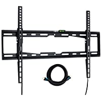 Universal Tv Wall Mount for 32 40 55 60 64 Inch Flat Screen Tv - Tilting - Low Profile - Includes Bubble Level & HDMI Cable - Heavy Duty Construction - Samsung, Sony, Vizio, Lg,