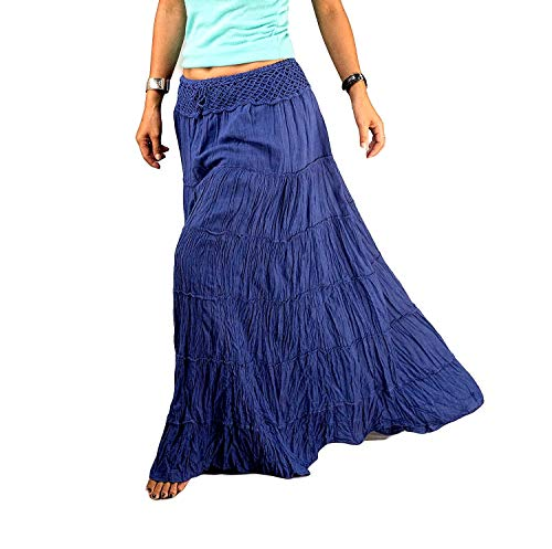 Royal Blue Gypsy Skirts for Women Cotton Autumn Tiered Maxi Boho Hippy Long Flared Plain Solid