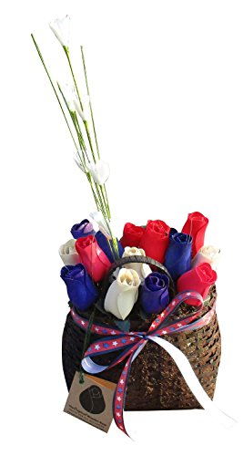 Patriotic Wicker Basket Wooden Rose Arrangement. Red, White, Blue Wooden Roses in a Festive Arrangement - Happy Holidays Floral Décor Bouquet for your Home or Office ()