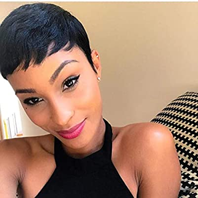 Short Cut 1b Hotkis Short Human Hair Pixie Cut Wigs Short Wigs For Black Women Pixie Cut 1b Buy Online At Best Price In Uae Amazon Ae
