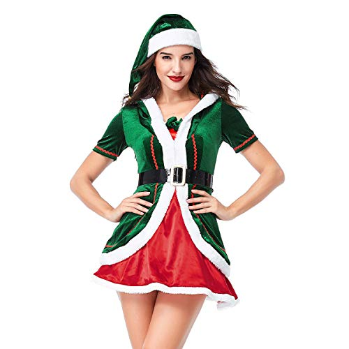 Quesera Women's Santa Helper Costume Adult Christmas Honey Elf Halloween Outfits, Green1, Tag Size L=US Size Medium