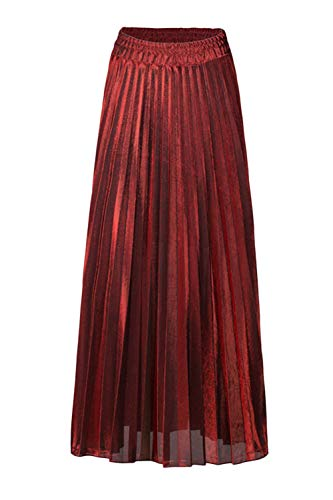 Rouge Paillettes Femmes Maxi Taille Jupe Haute yulinge Plisse Jupes O8Bwqx
