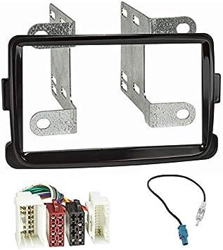 Sound-Way Kit Montaje Autoradio, Marco 1 DIN Radio para Coche, Cable Adaptador Conector ISO, Adaptador Antena Compatible con Renault, Dacia Duster ...