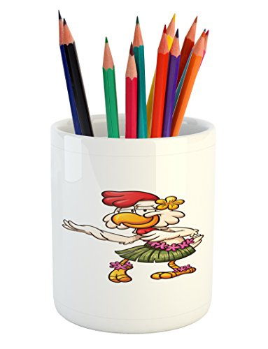 Lunarable Chicken Pencil Pen Holder, Hawaiian Dancer Chick with Grass Skirt and Ornate Flowers Funny Cartoon Character, Printed Ceramic Pencil Pen Holder for Desk Office Accessory, (Grass Table Skirts Cheap)