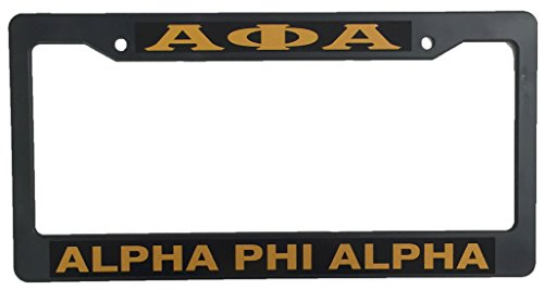 Alpha Phi Alpha Black Plastic License Plate Frame Greek Fraternity Letter For Front Back of Car (Greek Frame License Plate)