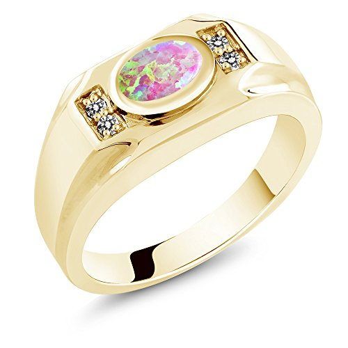 - Gem Stone King 1.18 Ct Cabochon Simulated Opal Diamond 18K Yellow Gold Plated Silver Men's Ring (Size 11)