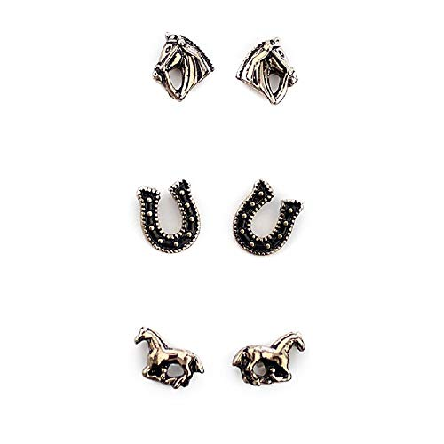 Set of 3 Horse Earrings-Gold