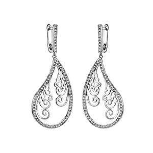 Neoglory Jewelry Rhinestone Pattern Dangle Earrings embellished with Crystals from Swarovski