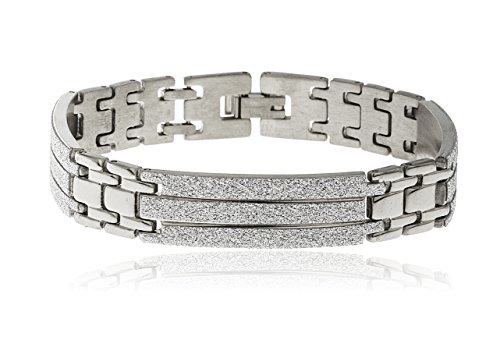 Bracelets Section Steel (Men's Stainless Steel 8 Inch Bracelet with Sandblast Sections (Silvertone))