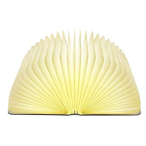 Book Light,Wood Grain Folding Book Lamp, Night Light Magicfly USB Rechargable Book Shaped Light ,2 Colors Led Table Lamp for Decor, Magnetic Design, Environmentally Material ()
