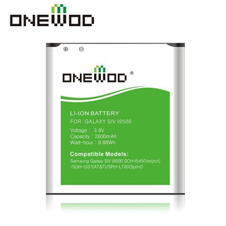 Onewod 2600mah Li-ion Spare Batteries for Samsung Galaxy SIV I9500 Sch-1545(verizcn)/sgh-1337(at&t)/sph-l720(sprint),not for Galaxy S4 Active(without Nfc/google Wallet)