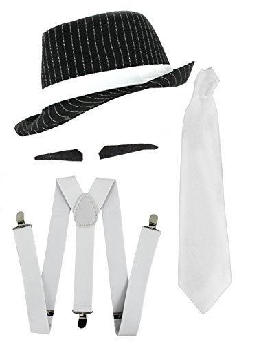 Ilovefancydress Men's Gangster Fancy Dress Deluxe Accessory Set Pinstripe Pinstripe Trilby Hat + 6x Spiv Tashes + Tie + Braces + 1920's Mob Gangster Men Al Capone One Size Black & White
