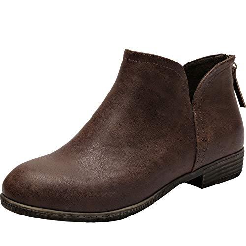 Women's Wide Width Ankle Boots - Classic Low Heel Back Zipper Comfortable Booties.(180912,Brown,10WW) ()