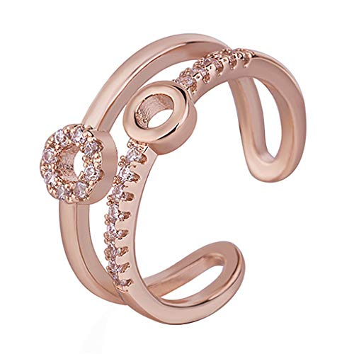 - kolo FINE Women Ring, Creative Opening Size Adjustable Diamond Tail Luxury Retro Charm Engagement Stone Egg Shape Gem Luminous Engagement Crystal Stainless Steel Vintage Personality for Girl (A)