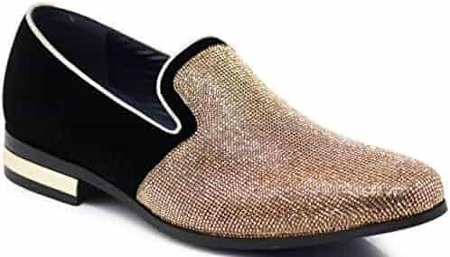 e9973acbe Enzo Romeo TRS Men Rhinestone Round Toe Suede Chrome Heels Dress Loafer Slip  On Fashion Shoes