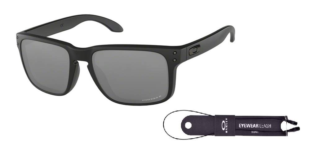 Oakley Holbrook OO9102 9102D6 57M Matte Black/Prizm Black Polarized Sunglasses For Men For Women+ BUNDLE with Oakley Accessory Leash Kit by Oakley