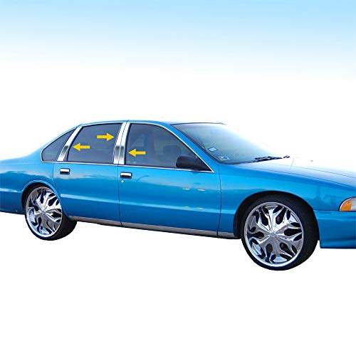Made in USA! Works with 91-96 Chevrolet Caprice 6 PC Stainless Steel Chrome Pillar Post Trim ()