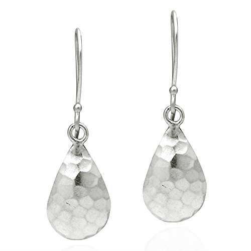 Curved Hammered Teardrop Thai Hill Tribe .925 Sterling Silver Dangle Earrings (Earrings Thai Silver Hook)
