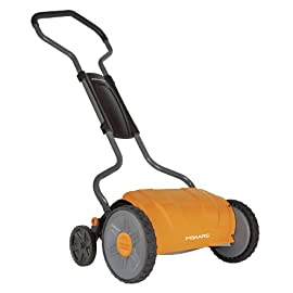 Fiskars 17 inch Staysharp Push Reel Lawn Mower (6208) 90 The smart design of our eco-friendly reel mower offers a cleaner cut without the hassles of gasoline, oil, battery charging, electrical cords or loud engine noise A combination of advanced technologies make the StaySharp Reel Mower 30 percent easier to push than other reel mowers Patent-pending InertiaDrive Reel delivers 50 percent more cutting power to blast through twigs, weeds and tough spots that would jam other reel mowers