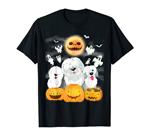 Team Old English Sheepdogs Pumpkin Ghost Moon Can't Scare Me