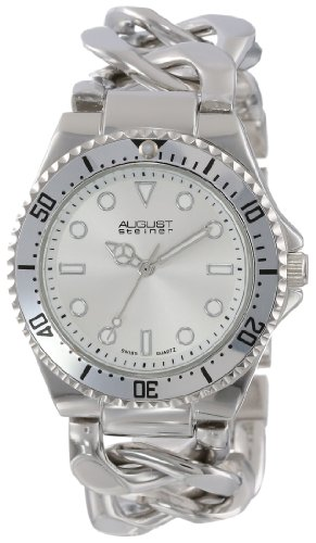 August Steiner Women's AS8079SS Swiss Diver Silver-Tone Twist Chain Bracelet Watch