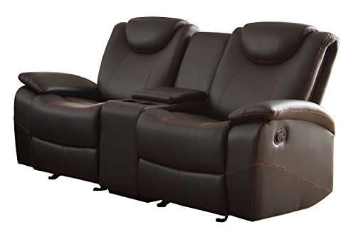 Homelegance Double Glider Reclining Love Seat Faux Leather, -