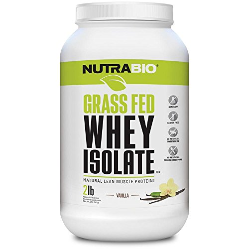 NutraBio Grass Fed Whey Isolate Protein (Vanilla, 2 Pounds) -