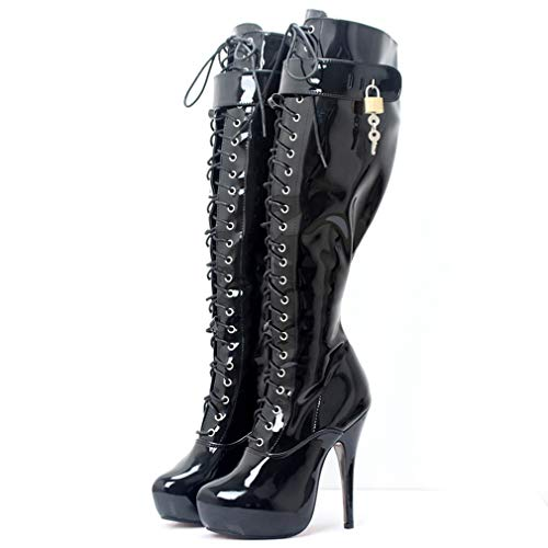 T-JULY Women's Heel Platform Boots Knee-High Patent Leather Lockable Lockpads Sexy Fetish Party Dance Shoes Black - Fetish Knee Boots