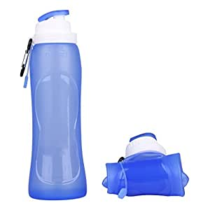SAMLOO Botella de silicona, portátil y plegable, para viajar o hacer deporte, 500 ml - azul