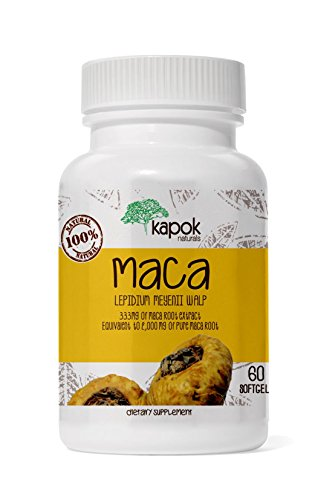 Maca Root Herb - Kapok Naturals Maca Root, Soft-Gel Maca Root for Men and Women 2000mg Maca Root Extract in Each Maca Pill. Natural Adaptogen Adaptogenic Herb for Endurance Energy, Stress and Fatigue