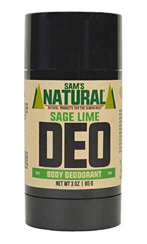 Sam's Natural Deodorant Stick - Sage Lime, Aluminum Free, Vegan, Cruelty Free, 3 oz