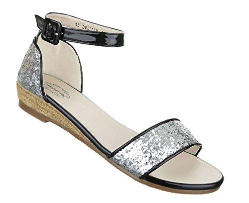 Damen Sandalen Schuhe Sommerschuhe Strandschuhe Keil Wedges Pumps Schwarz Gold silber 36 37 38 39 40 41 Silber