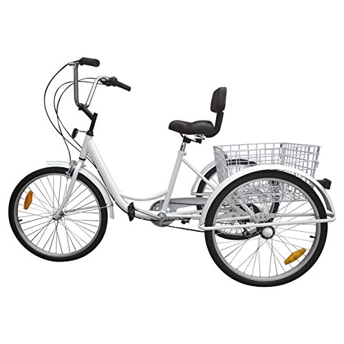 24″ Tricycle Adult 3-Wheel Trike 7-Speed Bicycle with Basket White
