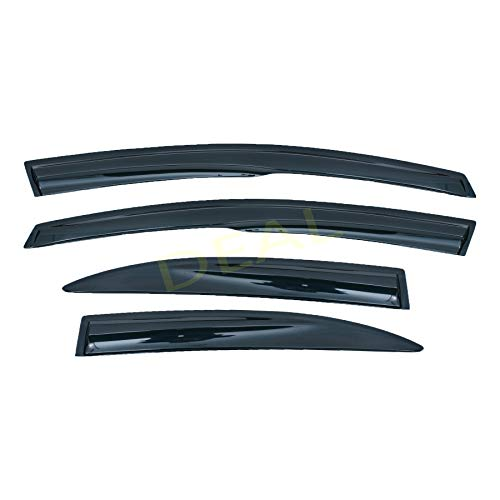DEAL 4-piece set 3D Wavy Style smoke vent window visor, JDM MUGEN outside mount tape-on type side window deflector, custom fit for 2006-2011 Honda Civic 4-Door Sedan Only (Civic Door Moulding Honda)