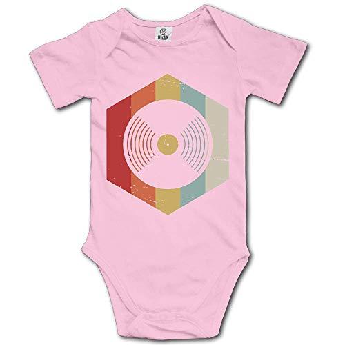 UMarsDeal Retro 70s Vinyl Record Newborn Baby Boys Clothing Short Sleeve Gentleman Bodysuit Onesies -