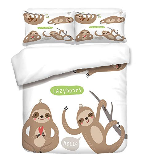 Boulevard Collection 1 Light - iPrint 3Pcs Duvet Cover Set,Sloth,Childish Collection of Funny Cute Lazy Sloths Hugging Family Romance Love Decorative,Light Brown Grey Green,Best Bedding Gifts for Family/Friends