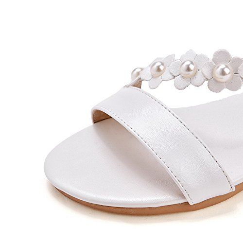 AdeeSu Shoes White Microfiber Buckle Flats SLC03659 Beaded Womens 1rn8wOx1SU