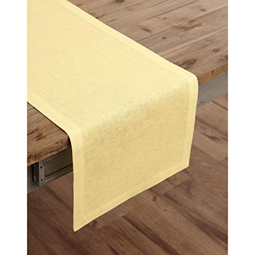 Solino Home 100% Pure Linen Table Runner - 14 x 90 Inch Athena, Handcrafted from European Flax, Natural Fabric Runner - Yellow