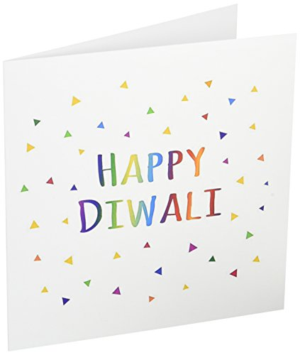 Diwali Cards (Happy Diwali Hindu festival of light colorful text - Greeting Cards, 6 x 6 inches, set of 12 (gc_202098_2))